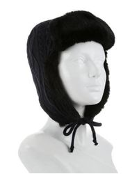 Tory Burch - Metallic Cable Knit Trapper Hat Blue - Lyst