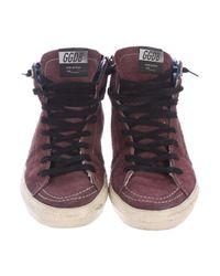 Golden Goose Deluxe Brand - Metallic Slide Distressed Sneakers Black - Lyst