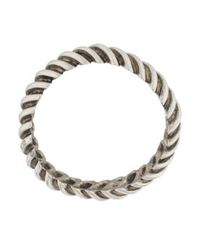 Giles & Brother - Metallic Ribbed Bangle Silver - Lyst