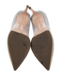 Gianvito Rossi - Gray Pointed-toe Suede Pumps - Lyst