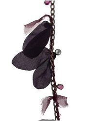 Lanvin - Metallic Silk Petal, Faux Pearl & Crystal Necklace Bronze - Lyst
