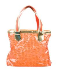 Just Cavalli - Metallic Leather-trimmed Printed Tote Orange - Lyst