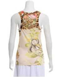 Roberto Cavalli - Metallic Printed Scoop Neck Top Brown - Lyst