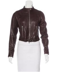 Michael Kors - Brown Leather Biker Jacket - Lyst