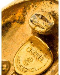 Chanel - Metallic Cc Clip-on Earrings Gold - Lyst