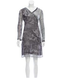 KENZO - Gray Dragon Print Silk Dress Grey - Lyst