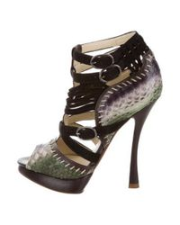 f0c376f6107 Lyst - Alexandre Birman Python Caged Sandals Brown in Natural
