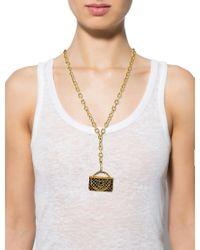 Chanel - Metallic Vintage Bag Charm Necklace Gold - Lyst