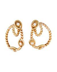 Dior   Metallic Diamond Rope Loop Earrings Yellow   Lyst