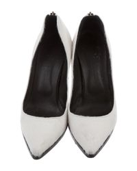 Helmut Lang - White Ponyhair Pointed-toe Pumps - Lyst