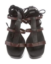 CoSTUME NATIONAL - Black Lace-up Square-toe Sandals - Lyst