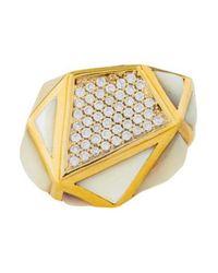 Kara Ross - Metallic 18k Diamond & Mother Of Pearl Ring Yellow - Lyst