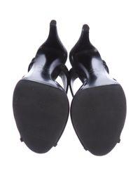 Chanel - Black Cc Satin & Mesh Sandals - Lyst