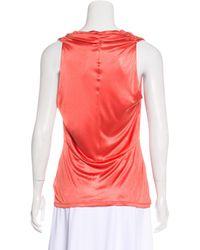 John Galliano - Multicolor Sleeveless Draped Top Orange - Lyst