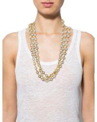 Chanel - Metallic Vintage Crystal Sautoir Necklace Gold - Lyst