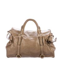 Miu Miu - Metallic Miu Vitello Leather Satchel Gold - Lyst