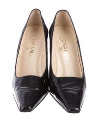 Chanel - Black Patent Leather Square-toe Pumps - Lyst