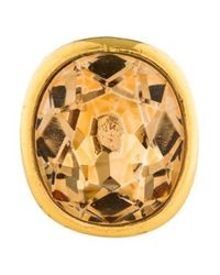 Kenneth Jay Lane - Metallic Faceted Resin Cocktail Ring Gold - Lyst