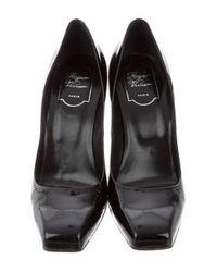 Roger Vivier - Black Patent Leather Square-toe Pumps - Lyst