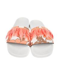 MSGM - White Feather Slide Sandals - Lyst