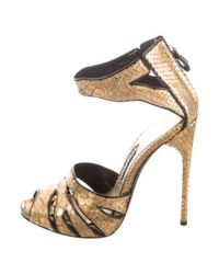 0d6b5e742aa5 Lyst - Tom Ford Python Sandals in Metallic