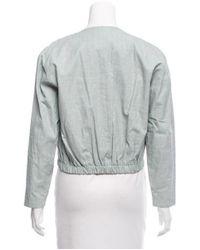 Samuji - Blue Cropped Coated Jacket W/ Tags - Lyst