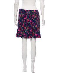 Saloni - Blue Pleated Floral Print Skirt W/ Tags Navy - Lyst