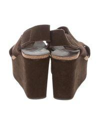 Pedro Garcia - Brown Suede Wedge Sandals - Lyst