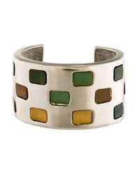 Givenchy - Metallic Resin Cuff Bracelet Silver - Lyst