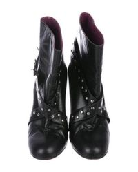 Marc Jacobs - Metallic Leather Studded Booties Black - Lyst
