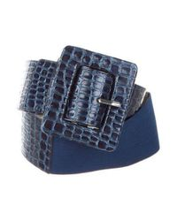 Alice + Olivia - Blue Embossed Leather Belt - Lyst