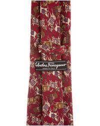 Ferragamo - Red Animal Print Silk Tie Multicolor for Men - Lyst