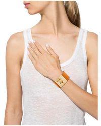Ferragamo - Metallic Wide Gancio Leather Bracelet Gold - Lyst