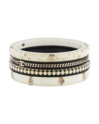 Chanel - Metallic Cc Curb Chain Resin Bangle Bracelet Gold - Lyst