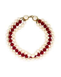 Chanel - Metallic Multistrand Bead Necklace Gold - Lyst