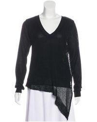 Yohji Yamamoto - Black Asymmetrical Knit Sweater - Lyst