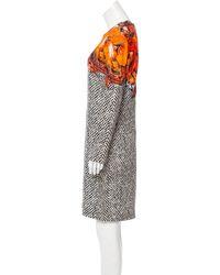 Roberto Cavalli - Gray Long Sleeve Printed Dress Orange - Lyst