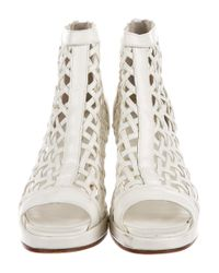 Junya Watanabe - Natural Woven Cage Boots White - Lyst