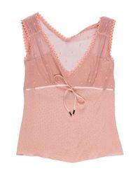 John Galliano - Pink Silk Mesh Top - Lyst