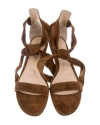 Gianvito Rossi - Brown Suede Beverly Sandals W/ Tags - Lyst