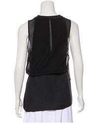 3.1 Phillip Lim - Black Sleeveless Silk-paneled Top - Lyst