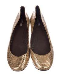 Vera Wang - Metallic Embossed Flats Gold - Lyst