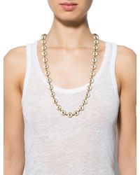 Chanel - Metallic Faux Pearl Bead Necklace Gold - Lyst