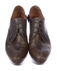 Lanvin - Brown Leather Oxford Pumps - Lyst