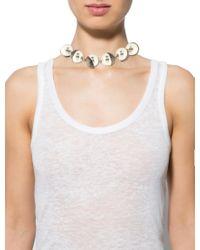 Dior - Metallic Faux Pearl & Enamel Collar Necklace Silver - Lyst