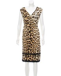 Womens Natural Leopard Print Midi Dress Tan finest selection 5ed62 fc99f   Class Roberto Cavalli. 7c68b0f46