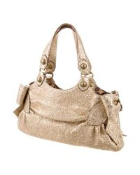 Boutique Moschino - Metallic Leather Shoulder Bag Gold - Lyst