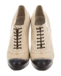 Chanel - White Cc Lace-up Ankle Booties - Lyst