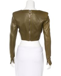 Balmain - Green Leather Crop Top W/ Tags Olive - Lyst