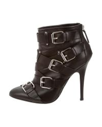 Giuseppe Zanotti | Metallic Leather Buckle-embellished Booties Black | Lyst